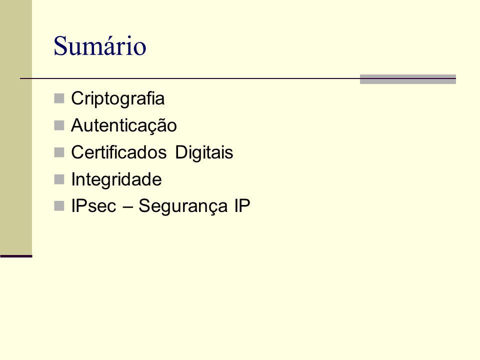 Sumário Criptografia Autenticação Certificados Digitais Integridade