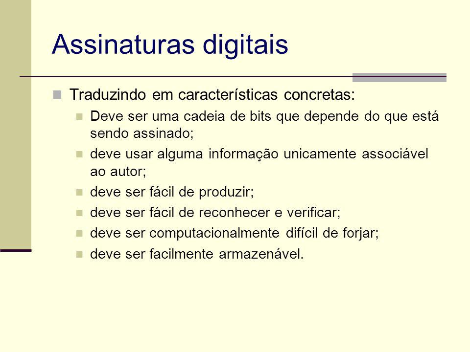 Assinaturas digitais Traduzindo em características concretas: