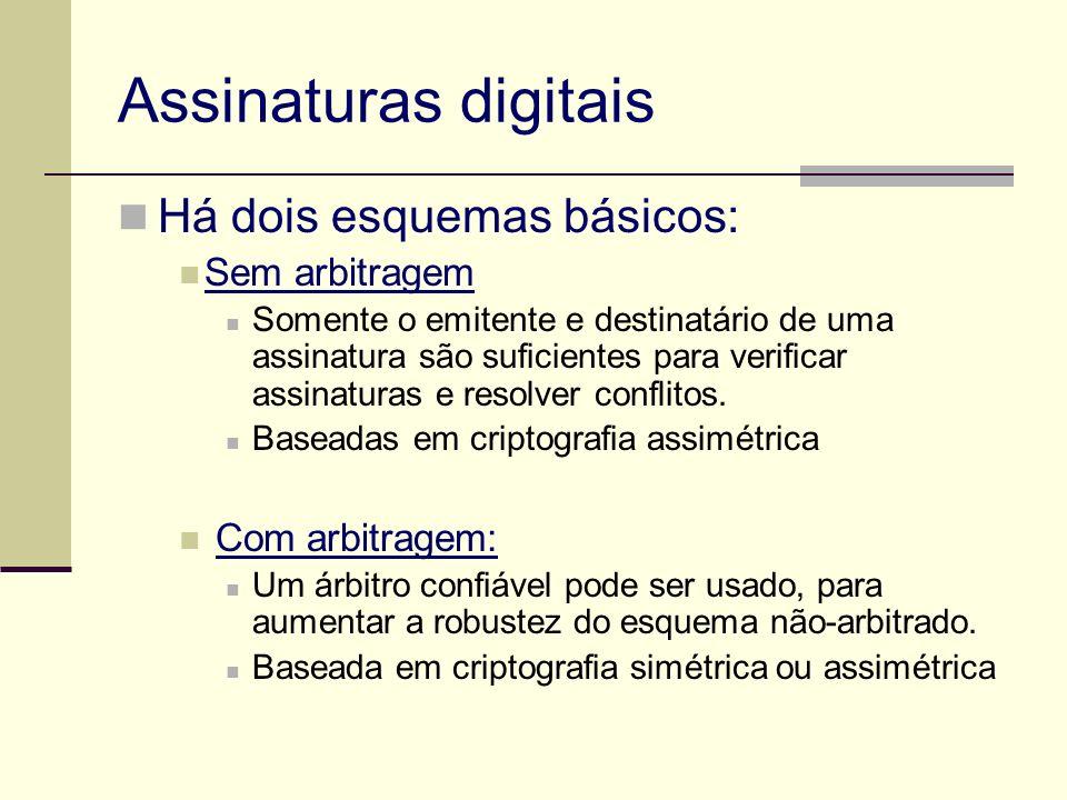 Assinaturas digitais Há dois esquemas básicos: Sem arbitragem