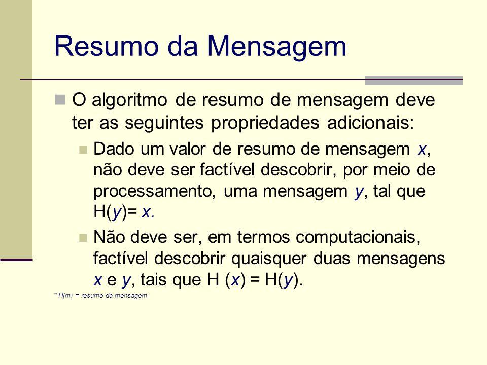 Resumo da Mensagem O algoritmo de resumo de mensagem deve ter as seguintes propriedades adicionais: