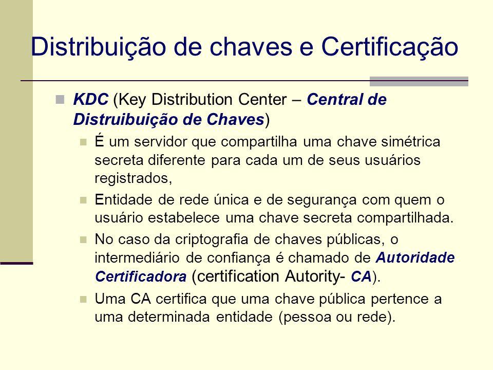 Distribuição de chaves e Certificação