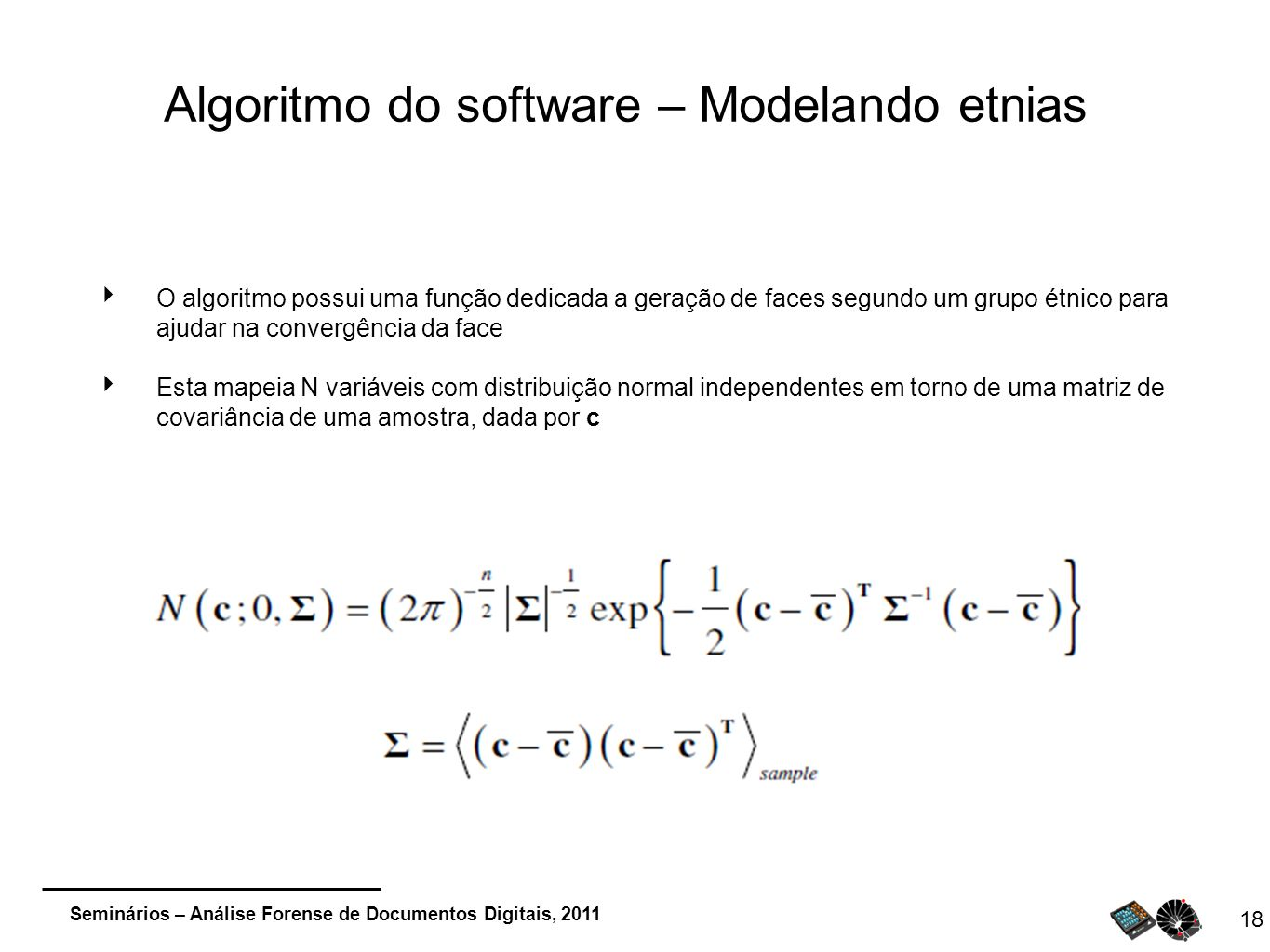 Algoritmo do software – Modelando etnias