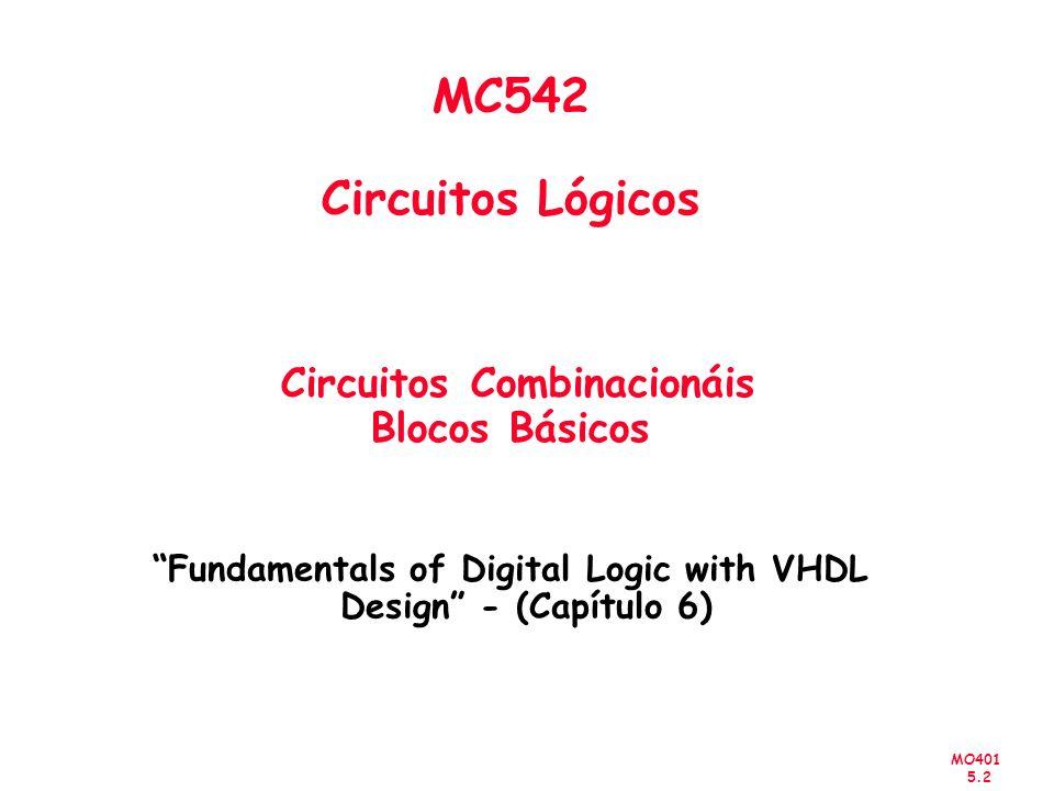 MC542 Circuitos Lógicos Circuitos Combinacionáis Blocos Básicos