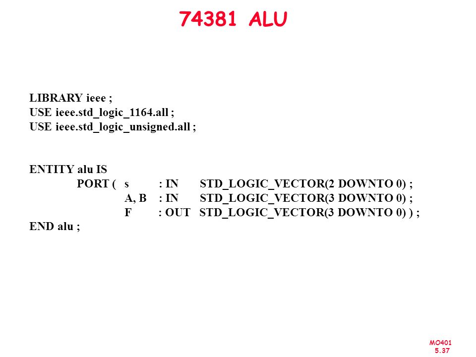 74381 ALU LIBRARY ieee ; USE ieee.std_logic_1164.all ;