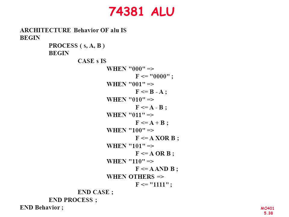 74381 ALU ARCHITECTURE Behavior OF alu IS BEGIN PROCESS ( s, A, B )