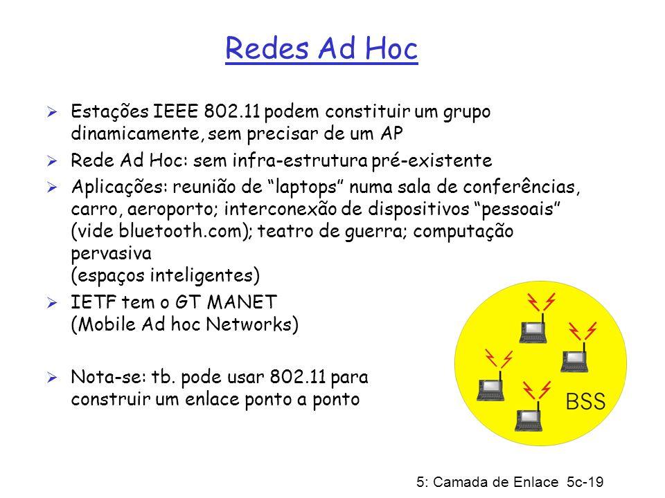 Redes Ad Hoc Estações IEEE 802.11 podem constituir um grupo dinamicamente, sem precisar de um AP. Rede Ad Hoc: sem infra-estrutura pré-existente.