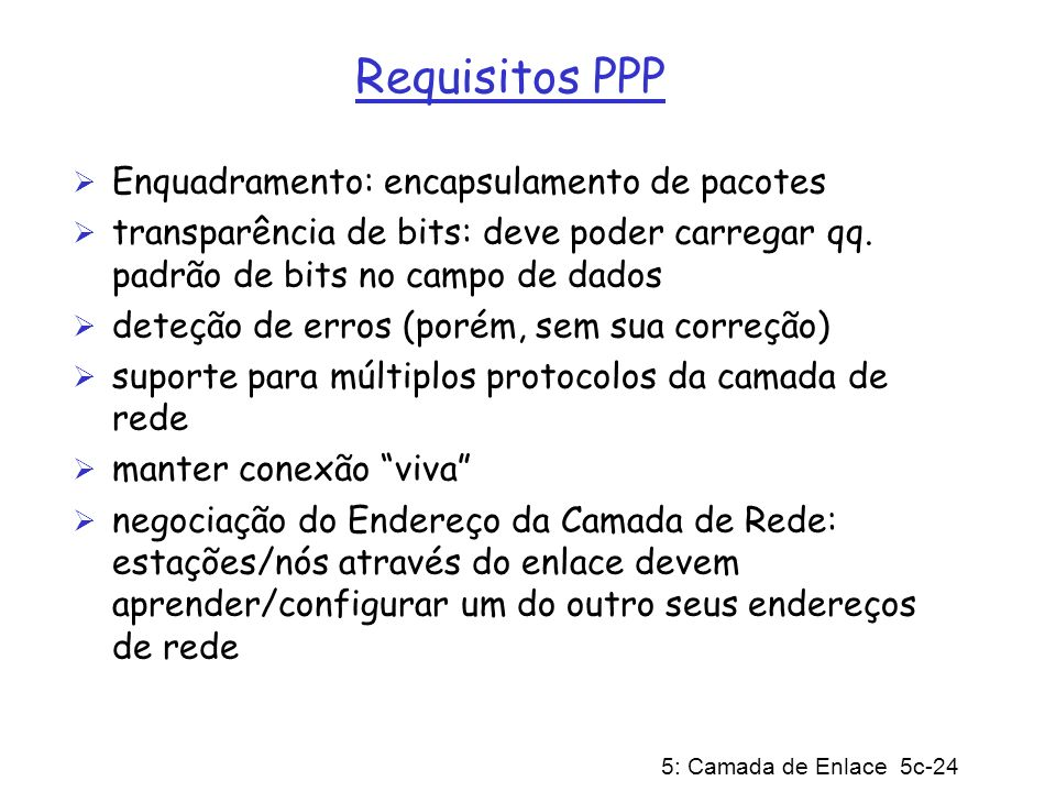 Requisitos PPP Enquadramento: encapsulamento de pacotes