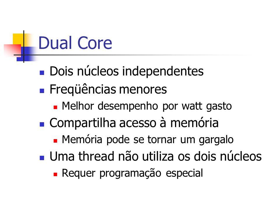 Dual Core Dois núcleos independentes Freqüências menores