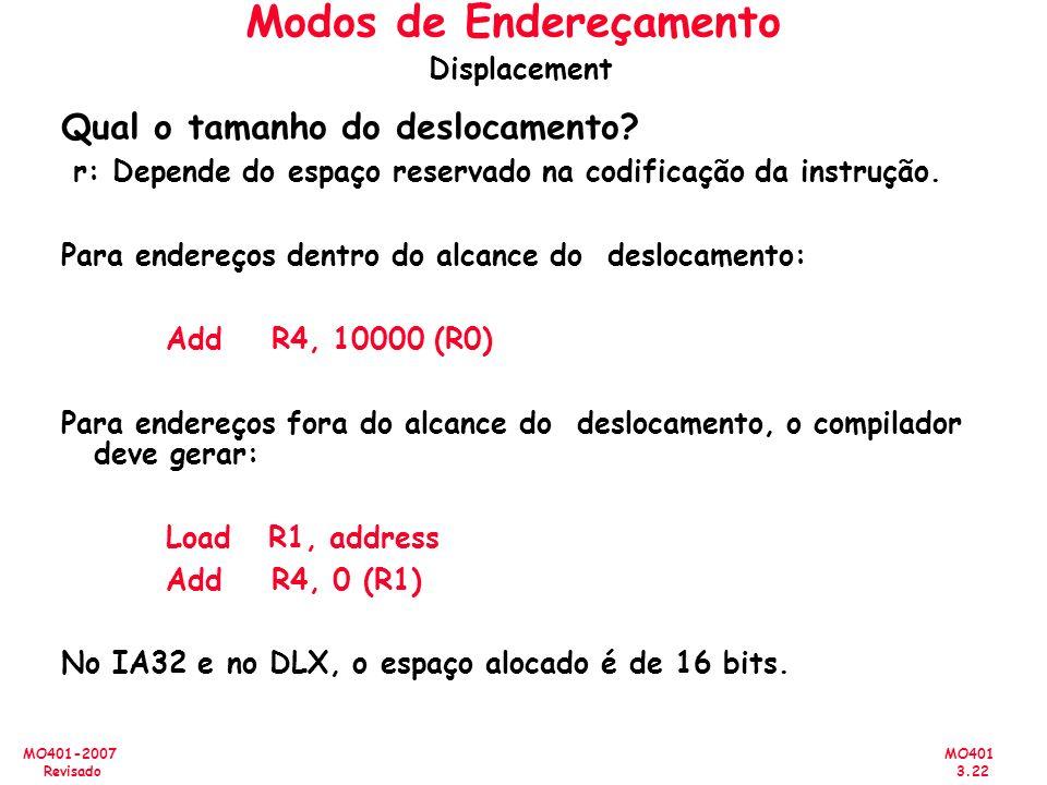 Modos de Endereçamento Displacement