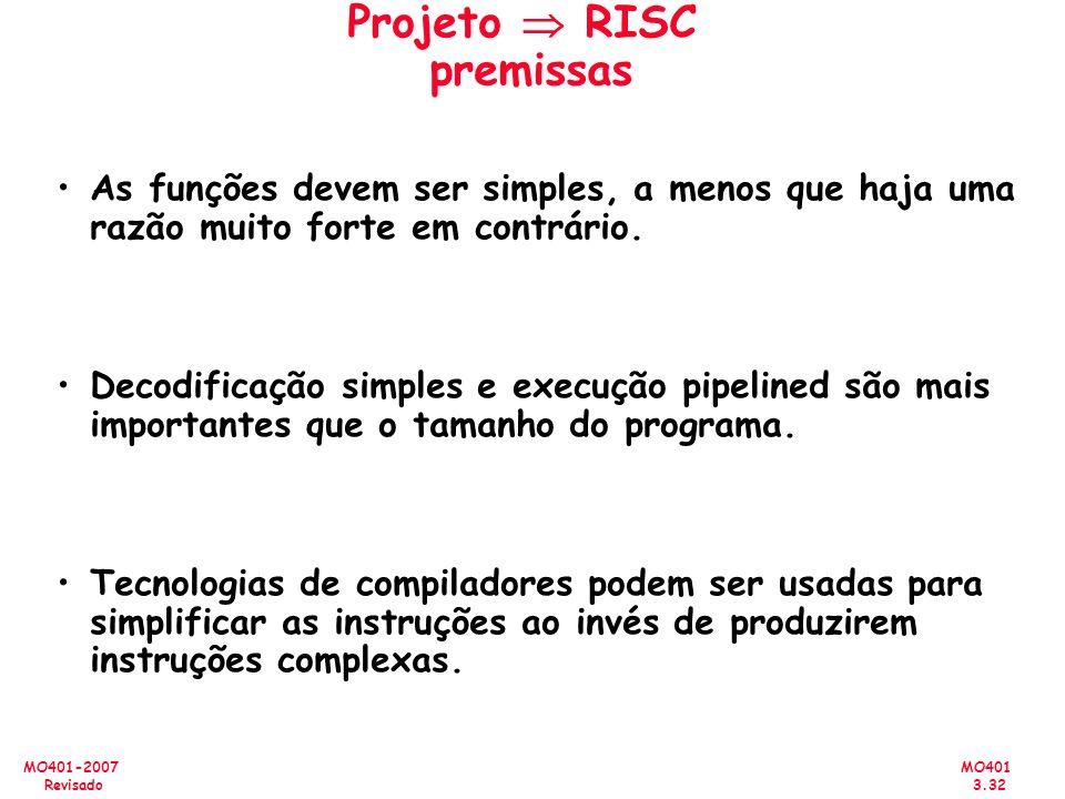 Projeto  RISC premissas