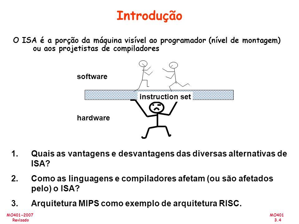 Introdução O ISA é a porção da máquina visível ao programador (nível de montagem) ou aos projetistas de compiladores.