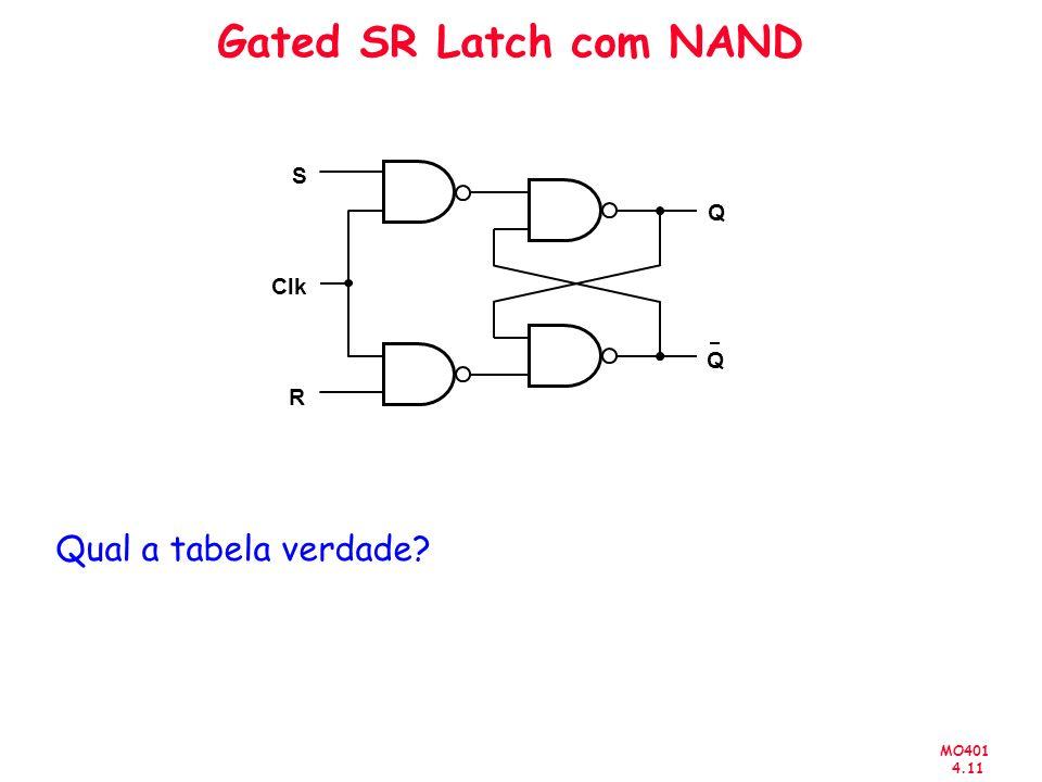 Gated SR Latch com NAND S Q Clk Q R Qual a tabela verdade