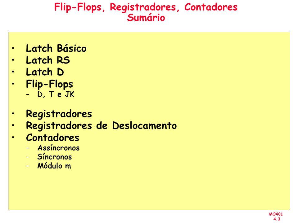 Flip-Flops, Registradores, Contadores Sumário
