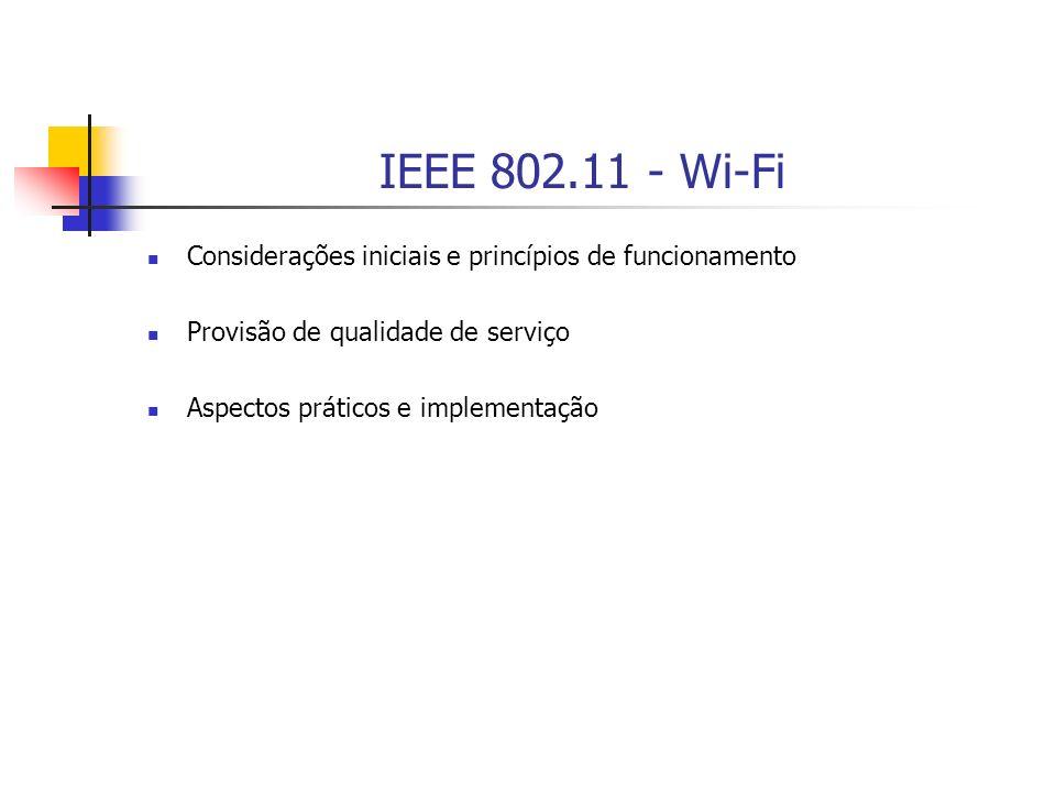 IEEE 802.11 - Wi-Fi Considerações iniciais e princípios de funcionamento. Provisão de qualidade de serviço.