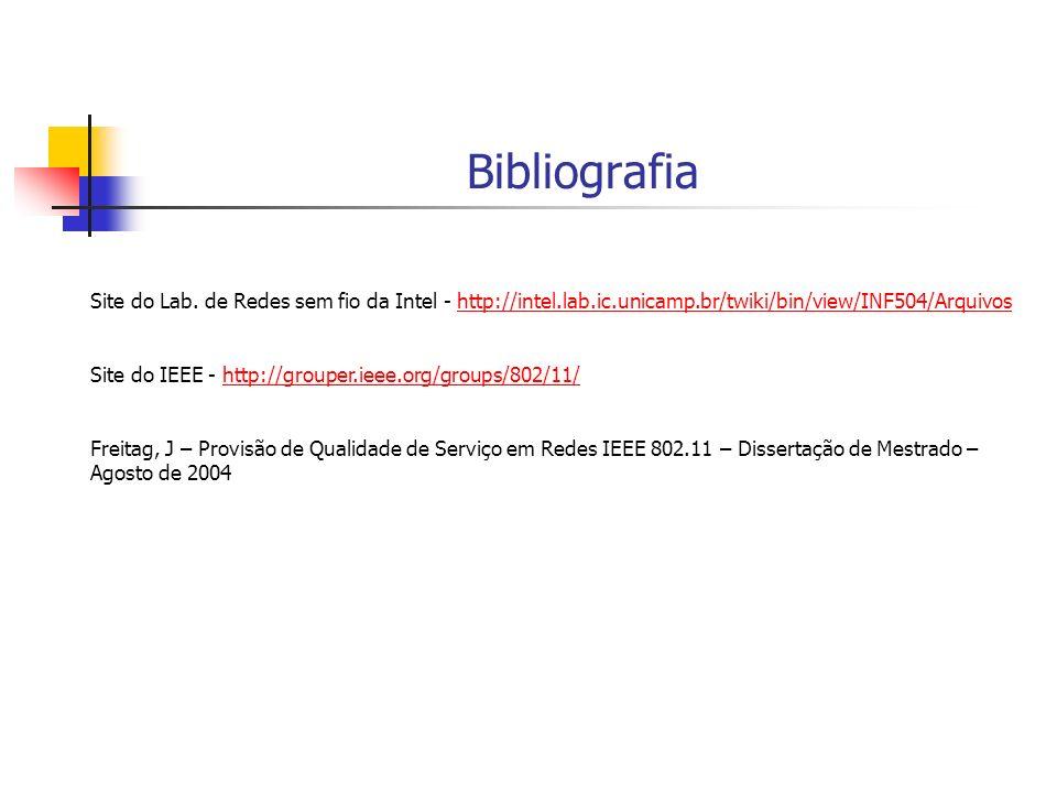 Bibliografia Site do Lab. de Redes sem fio da Intel - http://intel.lab.ic.unicamp.br/twiki/bin/view/INF504/Arquivos.