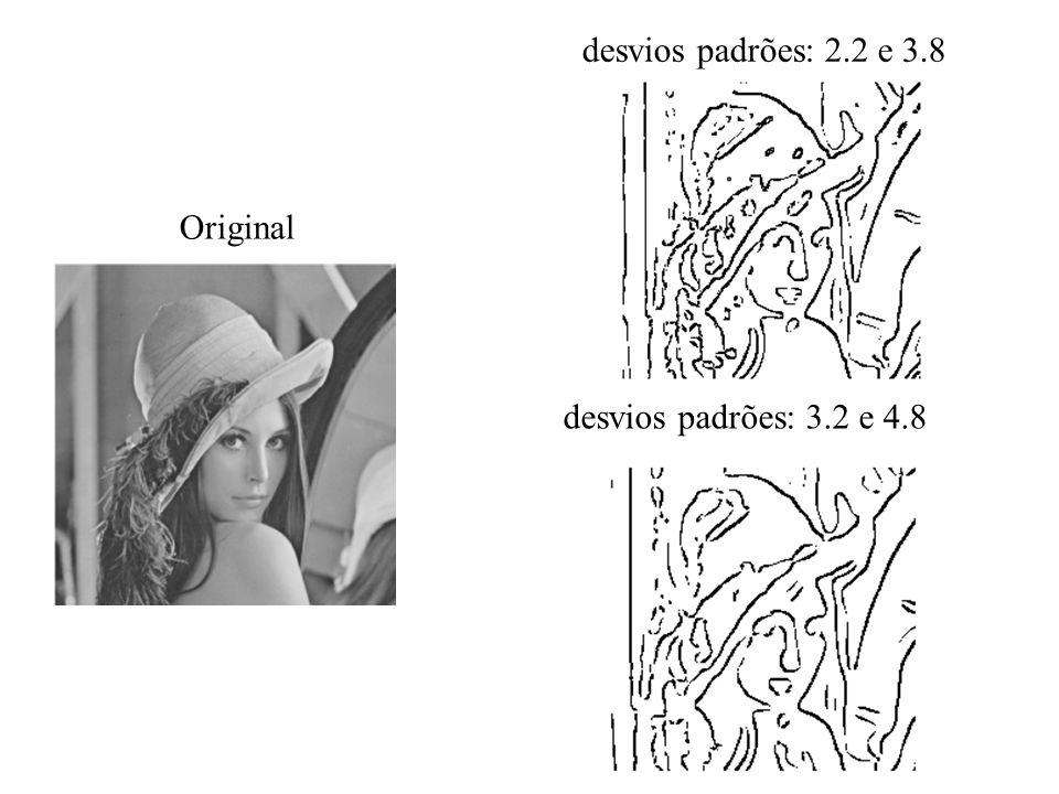 desvios padrões: 2.2 e 3.8 Original desvios padrões: 3.2 e 4.8