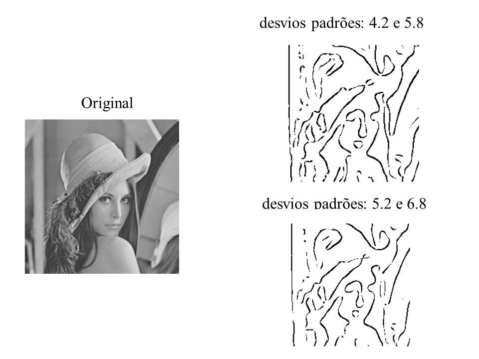 desvios padrões: 4.2 e 5.8 Original desvios padrões: 5.2 e 6.8