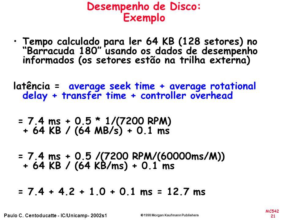 Desempenho de Disco: Exemplo