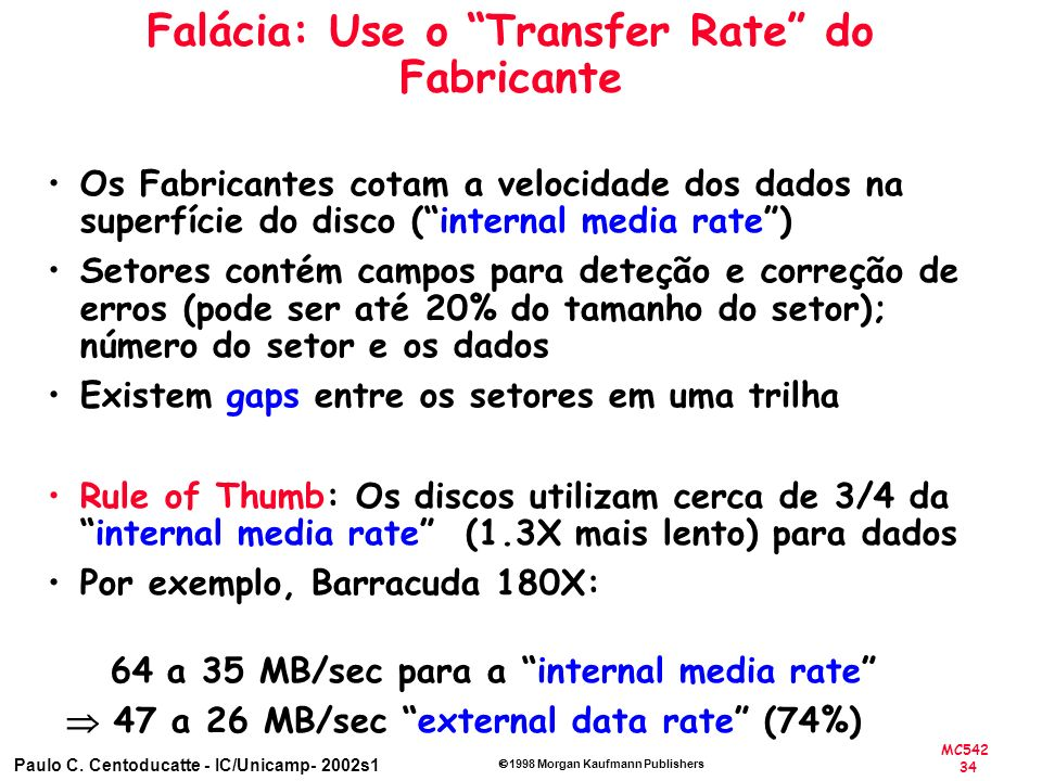 Falácia: Use o Transfer Rate do Fabricante