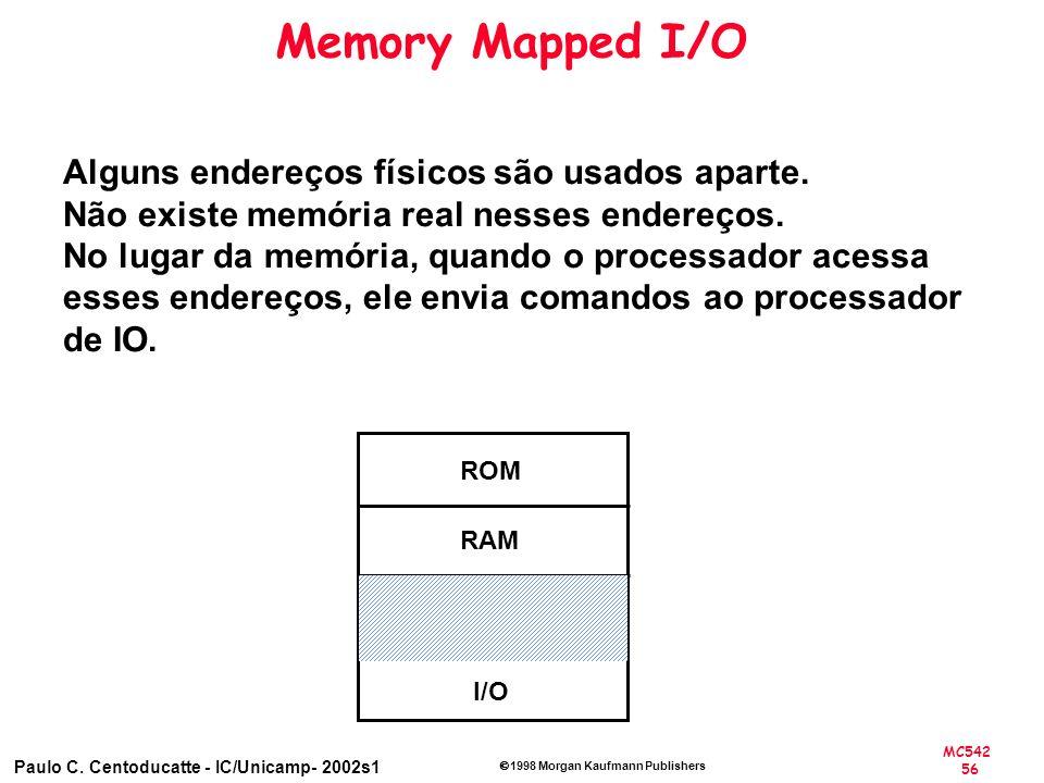 Memory Mapped I/O Alguns endereços físicos são usados aparte.