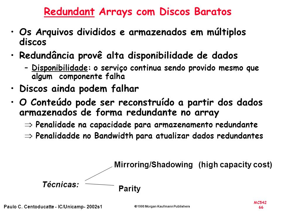 Redundant Arrays com Discos Baratos