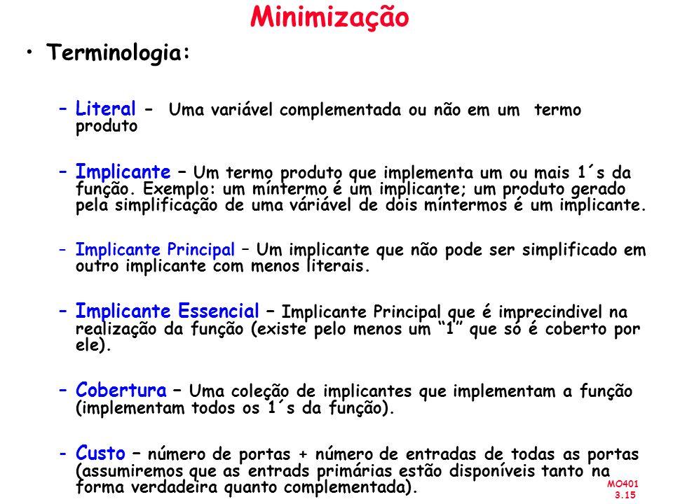 Minimização Terminologia: