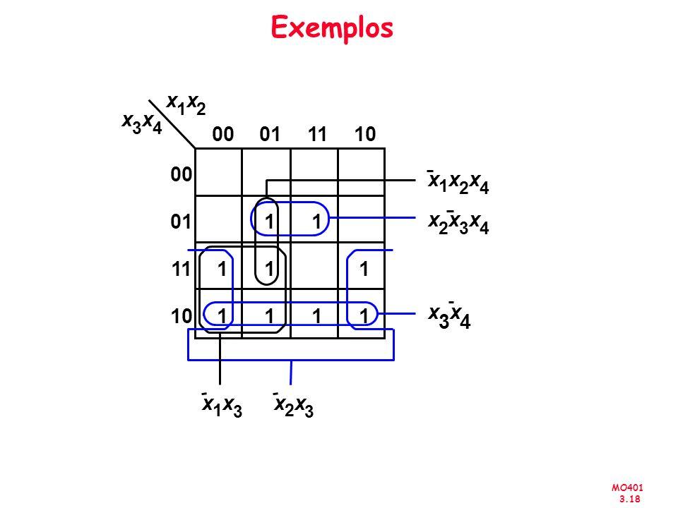 Exemplos x. x. 1. 2. x. x. 3. 4. 00. 01. 11. 10. 00. x. x. x. 1. 2. 4. 01. 1. 1.