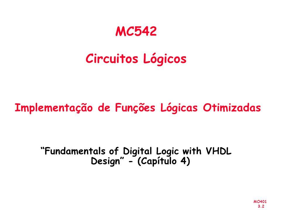 MC542 Circuitos Lógicos Implementação de Funções Lógicas Otimizadas