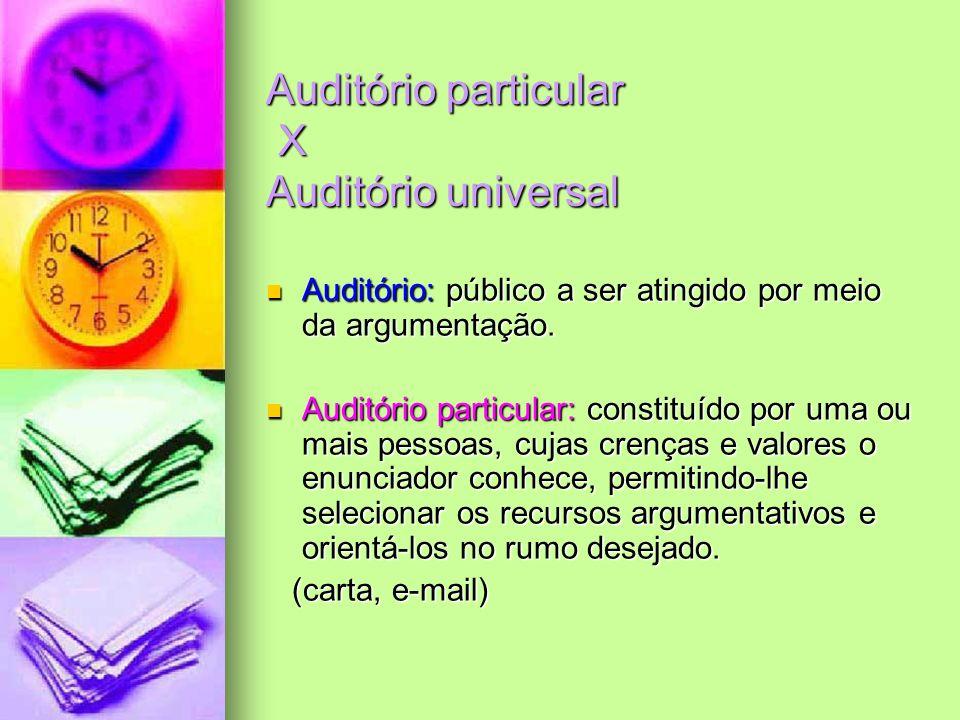 Auditório particular X Auditório universal