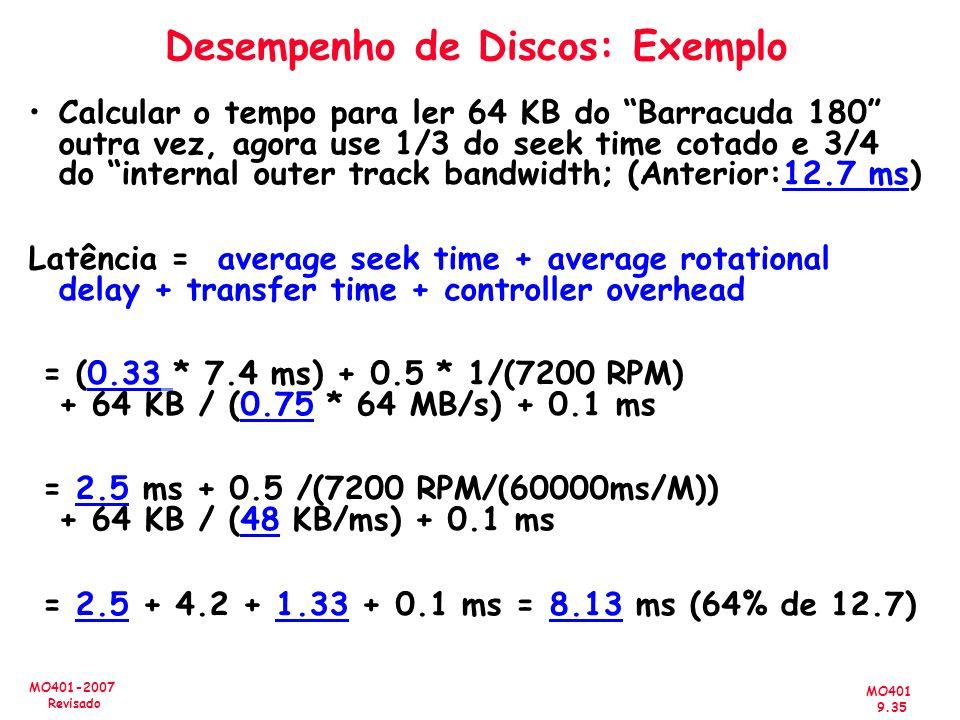Desempenho de Discos: Exemplo