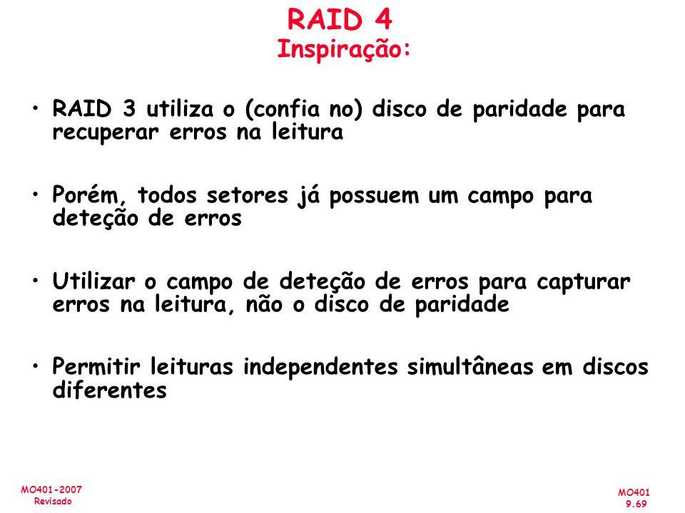 RAID 4 Inspiração: RAID 3 utiliza o (confia no) disco de paridade para recuperar erros na leitura.