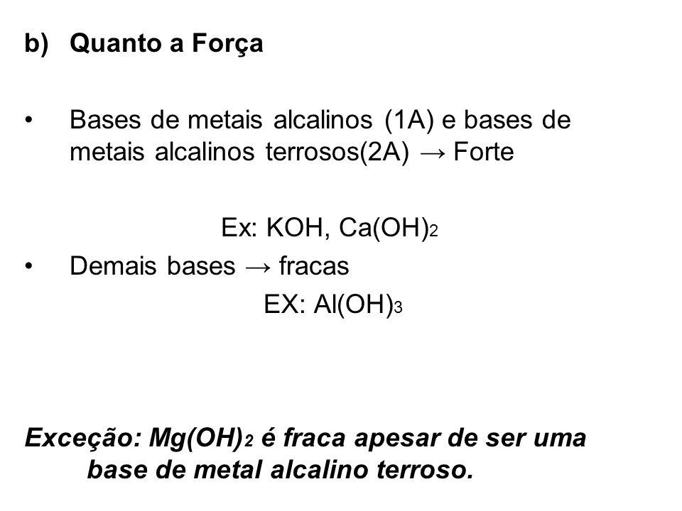 Quanto a Força Bases de metais alcalinos (1A) e bases de metais alcalinos terrosos(2A) → Forte. Ex: KOH, Ca(OH)2.