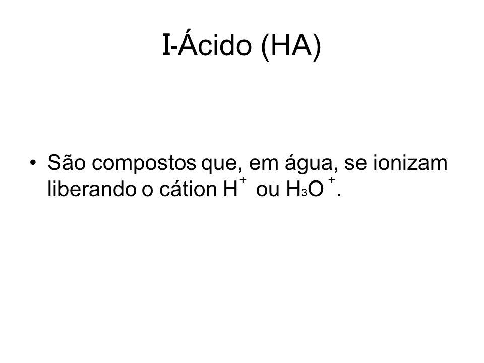 I-Ácido (HA) São compostos que, em água, se ionizam liberando o cátion H ou H3O . + +