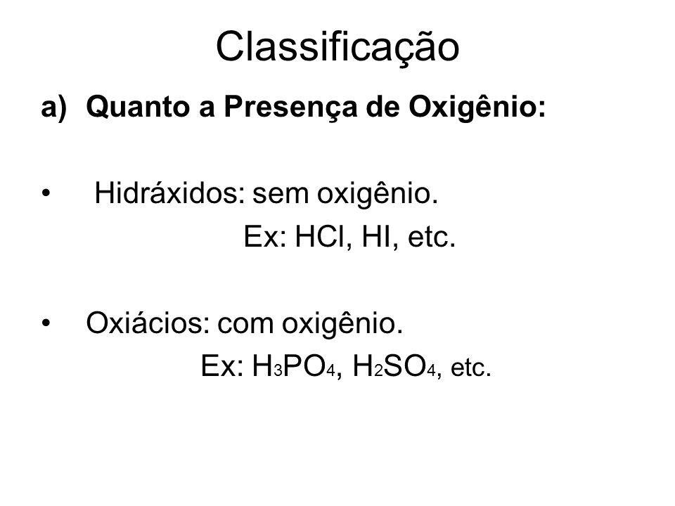 Classificação Quanto a Presença de Oxigênio: Hidráxidos: sem oxigênio.