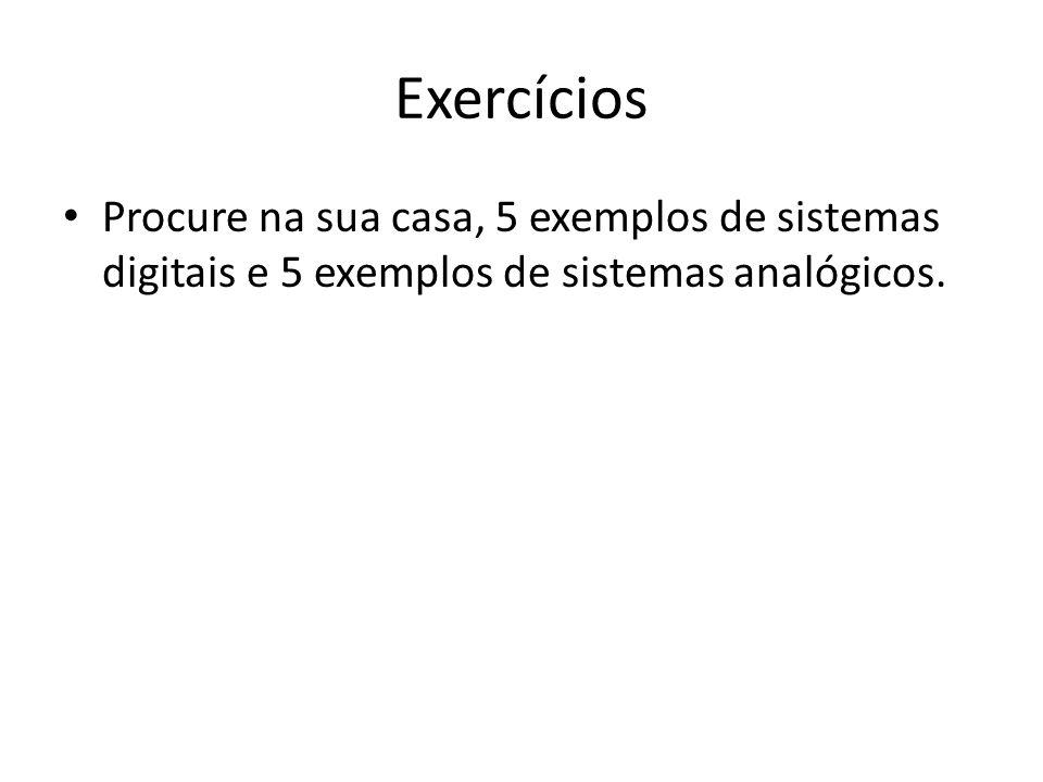 Exercícios Procure na sua casa, 5 exemplos de sistemas digitais e 5 exemplos de sistemas analógicos.