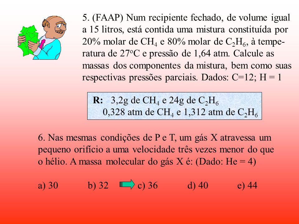 5. (FAAP) Num recipiente fechado, de volume igual