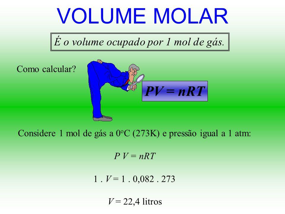 Considere 1 mol de gás a 0oC (273K) e pressão igual a 1 atm: