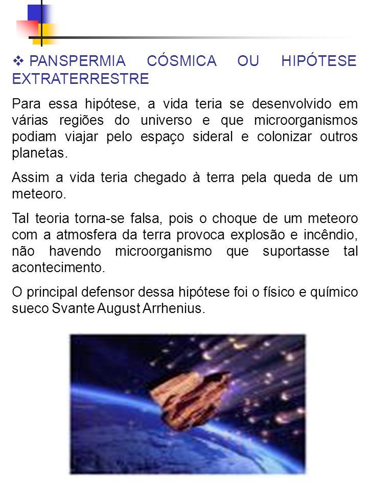 PANSPERMIA CÓSMICA OU HIPÓTESE EXTRATERRESTRE