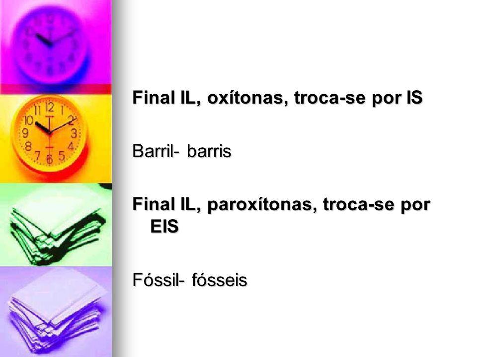 Final IL, oxítonas, troca-se por IS