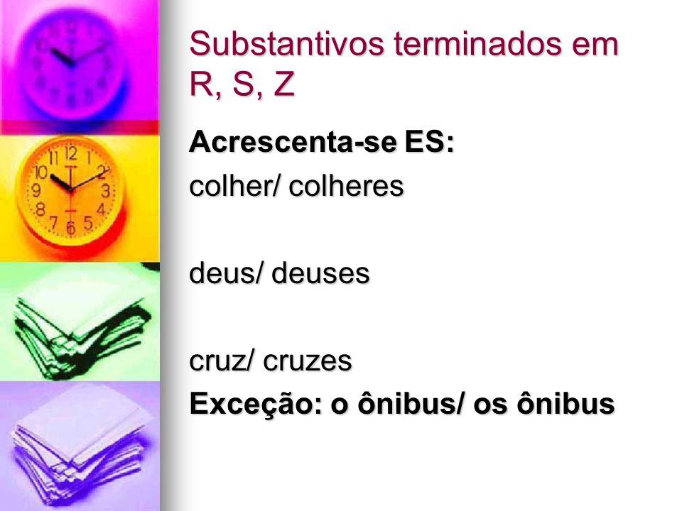 Substantivos terminados em R, S, Z