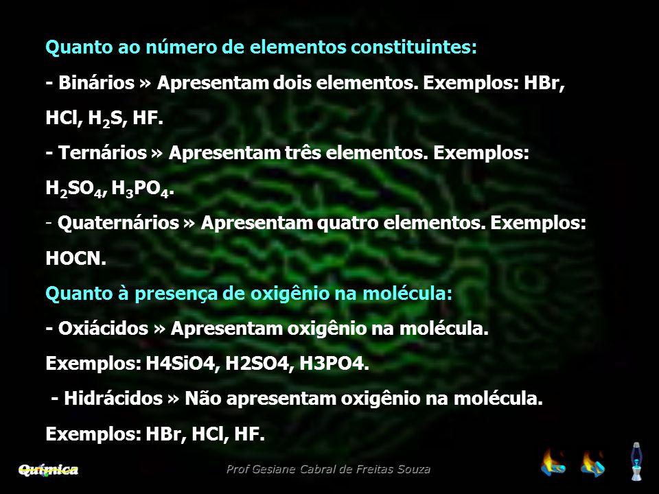 Quanto ao número de elementos constituintes: