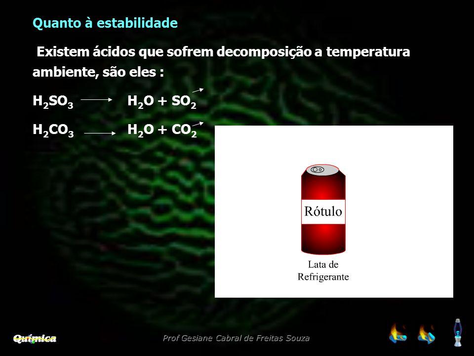 Quanto à estabilidade Existem ácidos que sofrem decomposição a temperatura ambiente, são eles : H2SO3 H2O + SO2.