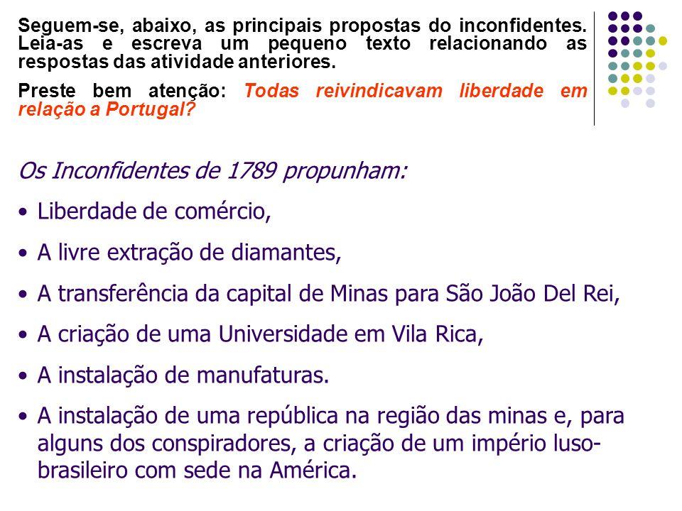 Os Inconfidentes de 1789 propunham: Liberdade de comércio,