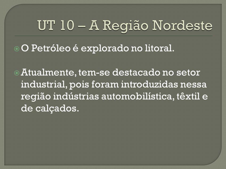 UT 10 – A Região Nordeste O Petróleo é explorado no litoral.