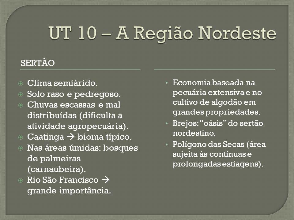 UT 10 – A Região Nordeste SERTÃO Clima semiárido.