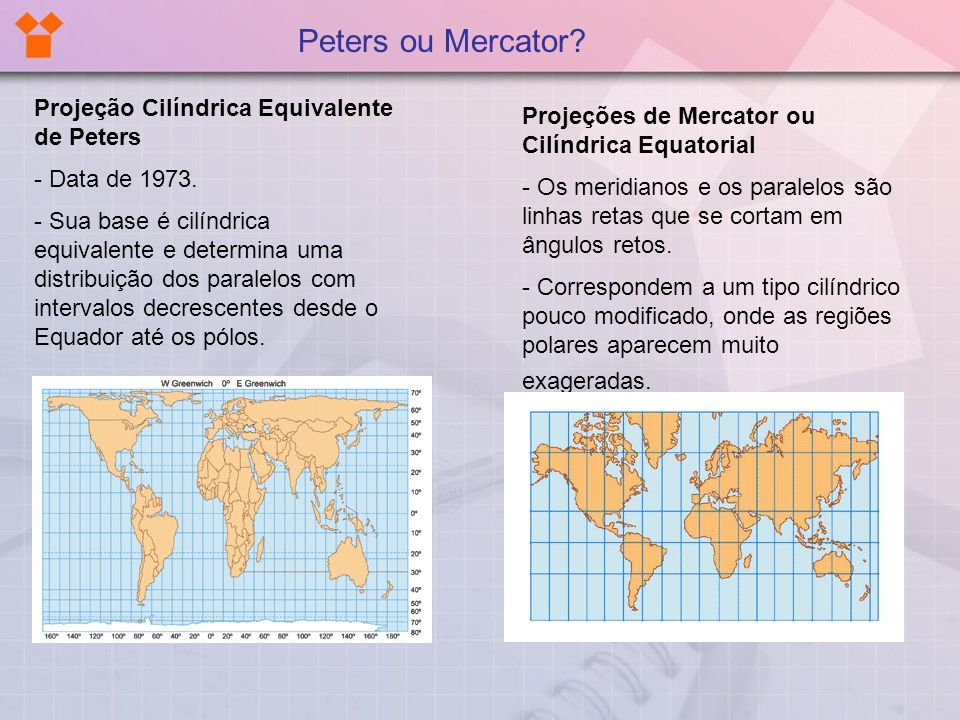 Peters ou Mercator Projeção Cilíndrica Equivalente de Peters