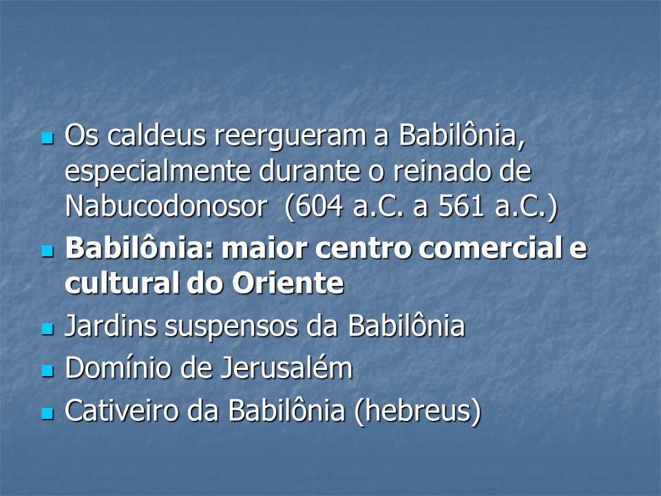 Os caldeus reergueram a Babilônia, especialmente durante o reinado de Nabucodonosor (604 a.C. a 561 a.C.)