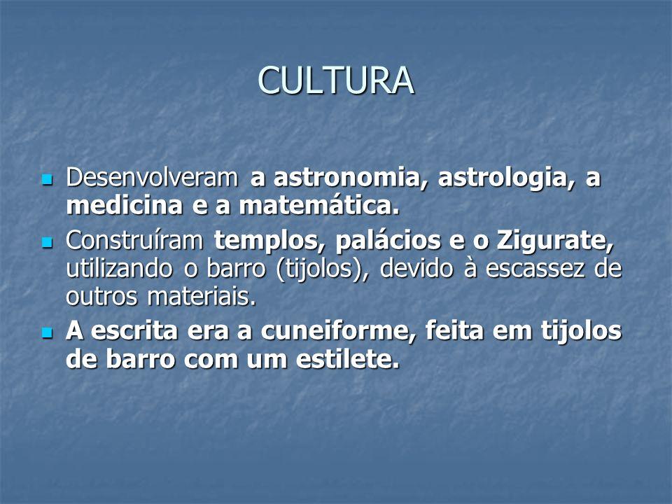 CULTURA Desenvolveram a astronomia, astrologia, a medicina e a matemática.
