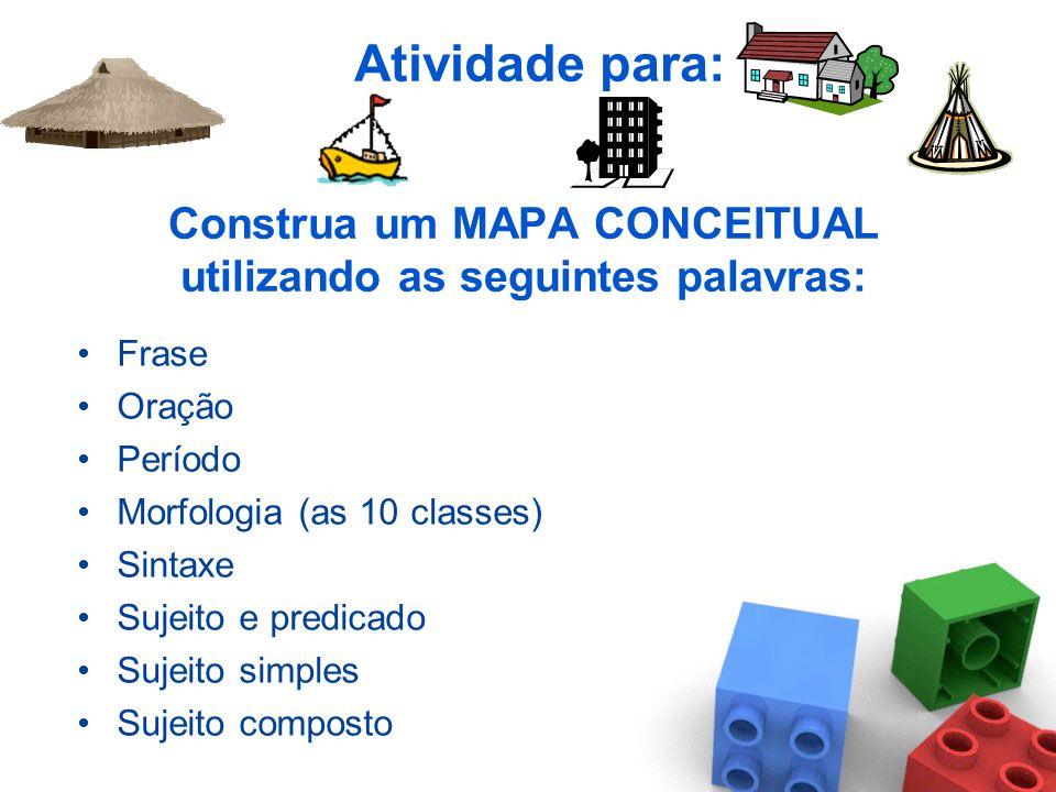 Construa um MAPA CONCEITUAL utilizando as seguintes palavras: