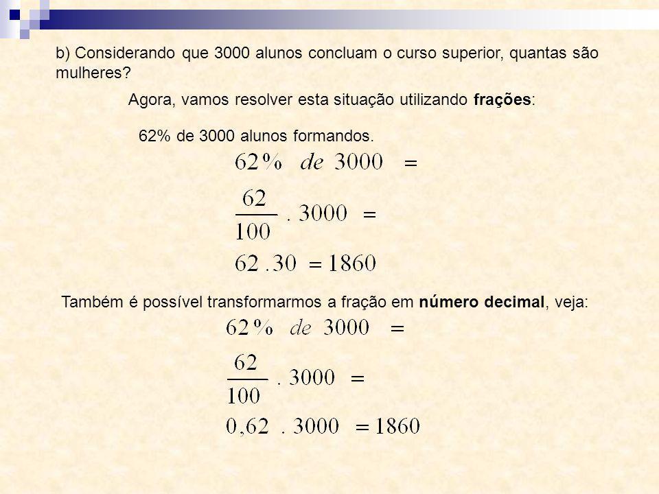 b) Considerando que 3000 alunos concluam o curso superior, quantas são mulheres